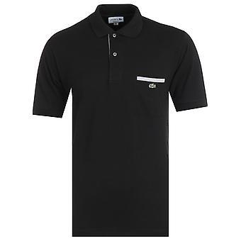 ラコステ クラシック フィット チェスト ポケット ブラック ポロ シャツ