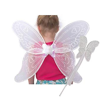 Lucy locket kids girls fairy wings and wand fancy dress set – white angel wings for children (3-10
