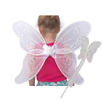 """Lucy medalion copii fete aripi de zână și baghetă rochie de lux set """"Äì aripi înger alb pentru copii (3-10"""