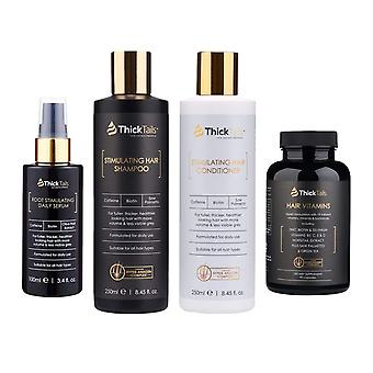 Thicktails ultimate hair recovery 4-pack: stimulating hair growth shampoo, conditioner, serum & vitamins