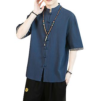 YANGFAN Men's Solid Color Short Sleeve Shirt Casual Top