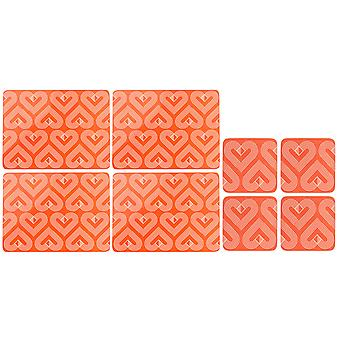 Beau & Elliot Vibe Placemats and Coasters, Coral