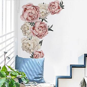 Large Pink Peony Flower Wall Stickers Romantic Home Decor