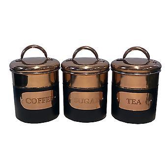 Set of 3 Black & Copper Tea, Sugar & Coffee Tins