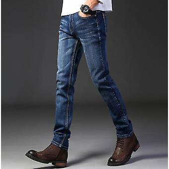 Stretch Men Jeans, Solid Color, Micro-elastic Classic