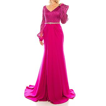 Embroidered Mesh Jacquard Evening Gown