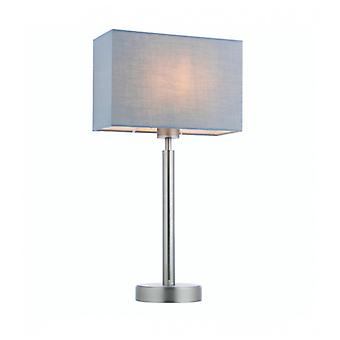 Owen Rectangular Table Lamp In Steel, Matte Nickel Plate And Gray Fabric