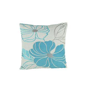 Oreiller d'accent de tissu avec le modèle floral, bleu et blanc