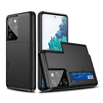 VRSDES Samsung Galaxy S21 Plus - Funda de la cubierta de la ranura de la tarjeta cartera caja de la caja del negocio negro