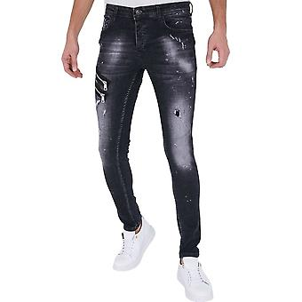 Jeans With Paint Splashes - Slim Fit - 5501A - Black