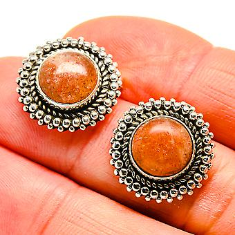 "Sunstone Earrings 3/4"" (925 Sterling Silver)  - Handmade Boho Vintage Jewelry EARR410934"