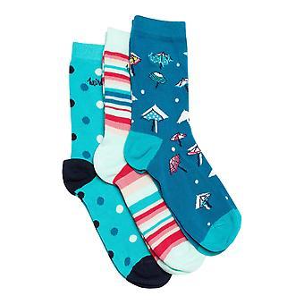 Parade mønstrede sokker Triple Pack Light Blågrønn