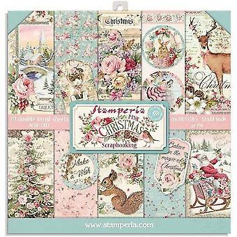 Stamperia Rosa Jul 8x8 Tommers PapirPakke