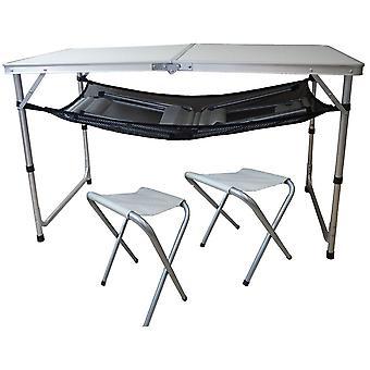 Masă de camping pliantă cu 4 scaune - set de camping alb