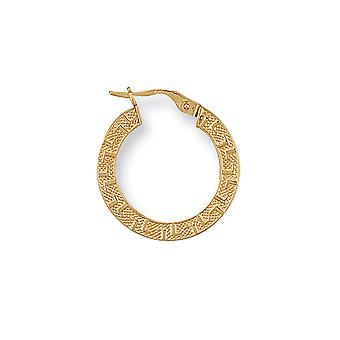 Eternity 9ct Gold Round Frosted Greek Key Creole Hoop Boucles d'oreilles