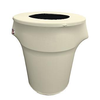 La Linen Stretch Spandex Trash Can Cover 55-Gallon Round,Ivory