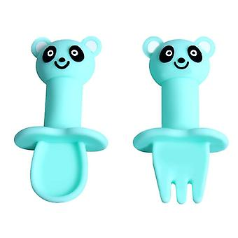 Cartoon Animal Silicone Spoon Fork Set Safe Infant Soft Heat-resistant