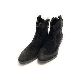 Women's Elite Texan Ankle Boot Embroidered In Black Calfskin Suede D21el11