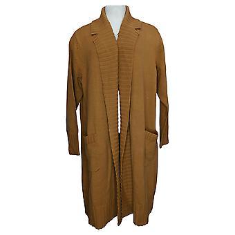 Isaac Mizrahi Live! Women's Long Cardigan Notch Collar Beige A389622