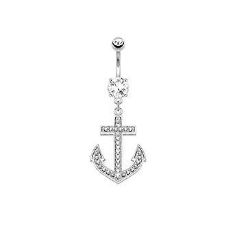 Solid 14k white gold anchor design navel ring