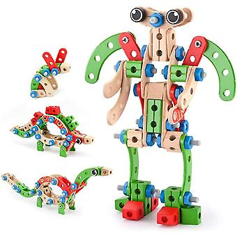FengChun Holz Konstruktionsspielzeug, Pdagogisches Montessori Spielzeug 96 PCS Holzgebude Spielzeug