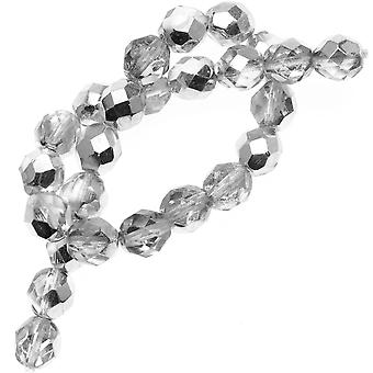 Czech Fire Polished Glass Beads 8mm Round Crystal Silver (25)
