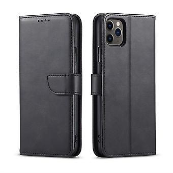 Flip folio leather case for iphone 12 pro max black pns-5014