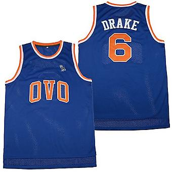 Men's Ovo #6 Blue Basketball Jersey Msg Nyc With Owl Patch S-xxl,fashion 90s Hip Hop Clothing For Party, Stitched Letters And Numbers