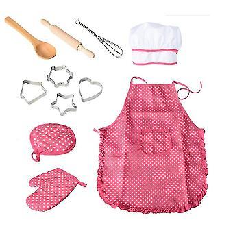 28 * 23.5 * 2.8Cm rose chef set tablier pour enfants, 11 pièces de jeu de cuisine pour enfants cuisine imperméable à l'eau outil de cuisson az18953