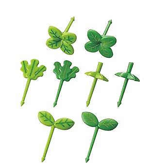 Fruit Fork  Leaves Plastic Decoration Toothpick