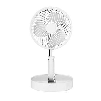 USB rechargeable silent fan, portable desktop folding retractable fan(White)