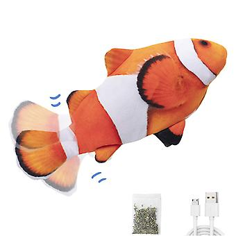 """Electric Flopping Fish 10.5"""", Moving Cat Kicker Fish Toy, Realistic Flopping Fish, Wiggle Fish Catnip Toys, Motion Kitten Toy, Plush Interactive Cat T"""