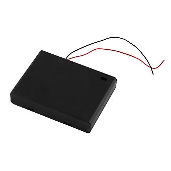 Black Plastic 6 * Aa Battery Storage Case Box Holder With Swith & Wire Leads