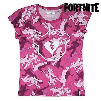 Child's Short Sleeve T-Shirt Fortnite Pink