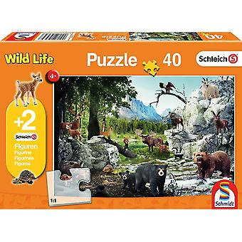 Schleich: The Animals of the Forest 40 Piece Jigsaw Puzzle With Two Figures