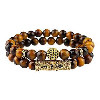 Bracelet set-meled beads and rhinestones, light brown