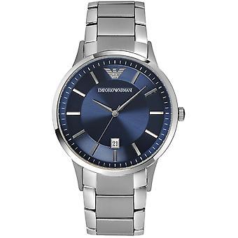 Emporio Armani AR2477 Blue Dial Acero Inoxidable Correa Azul Dial Vestido Reloj