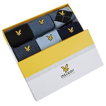 Lyle et Scott Timothy 6 Pack Gift Box Chaussettes - Noir/China Blue/Peacoat Navy