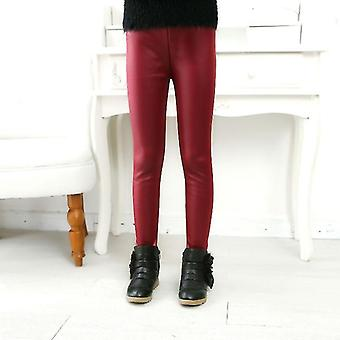 Childrenins Pants Leggings Thin Models Pu Leather Elastic Clothes