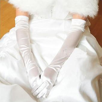 Women Satin Long Gloves Elbow Sun Protection