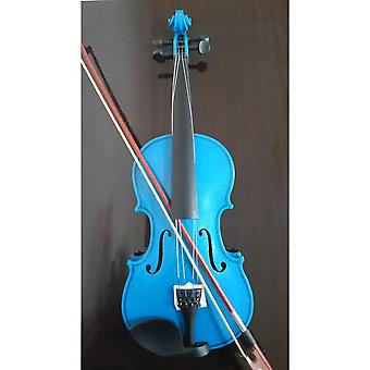 Student Acoustic Violin All Maple Spruce With Bow Rosin Blue