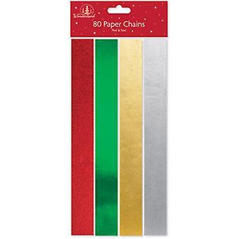 Festive Wonderland Christmas Foil Paper Chains (Pack of 80)