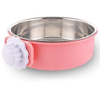 Detașabil din oțel inoxidabil Dog Bowl, Agățat Pet Bowl Cage, Small Water Bowl, Pet Supplies, Roz, X