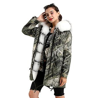 Mimigo Real Fur Coat-fashion Femmes Real Fox Fur Parka Hooded Green Jacket With Detachable Rex Rabbit Fur Liner Cotton Sleeves