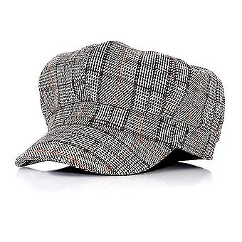 Women Beret Plaid Octagonal Hats, Casual Flat Capc