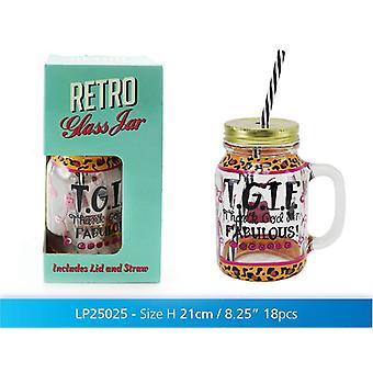 Jam Jar Drink glas T.G.I.F med lock och sugrör för Juice Cocktail