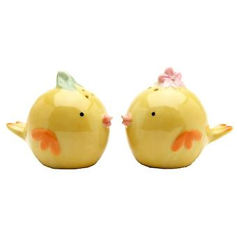 Whimsical Baby Yellow Chicks Salt and Pepper Shakers Set