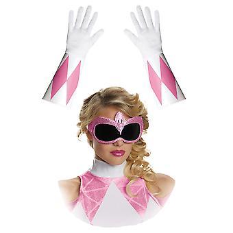 Vaaleanpunainen Mighty Morphin Power Ranger supersankari naisten puku naamio käsineet Kit