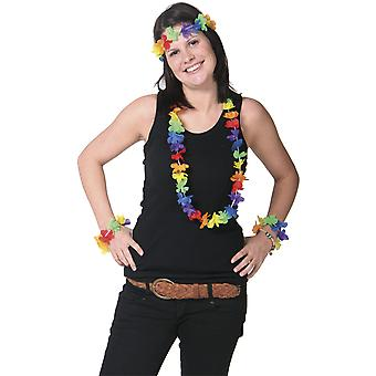 Hawaii Set 4-teilig Blumenkette Armbänder Kopfband Hula Hawaii Party