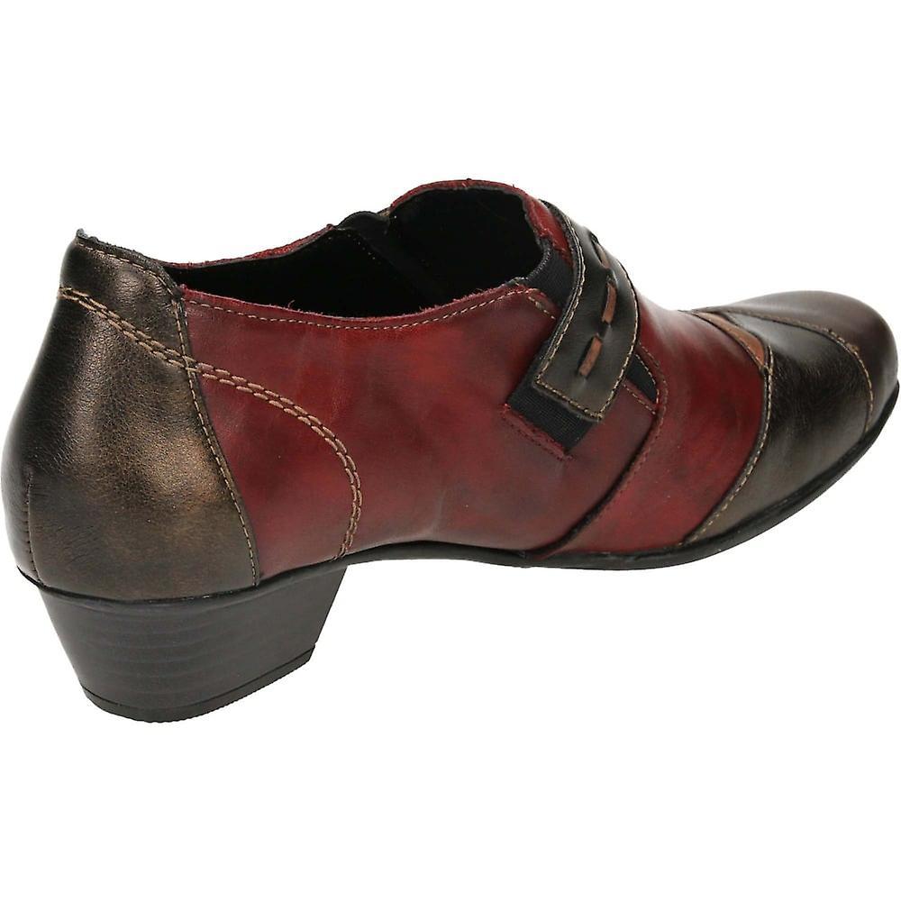 Remonte D7304-35 Skinn Lav Hæl Ankel Boots Trouser Sko Røde Kombinasjon